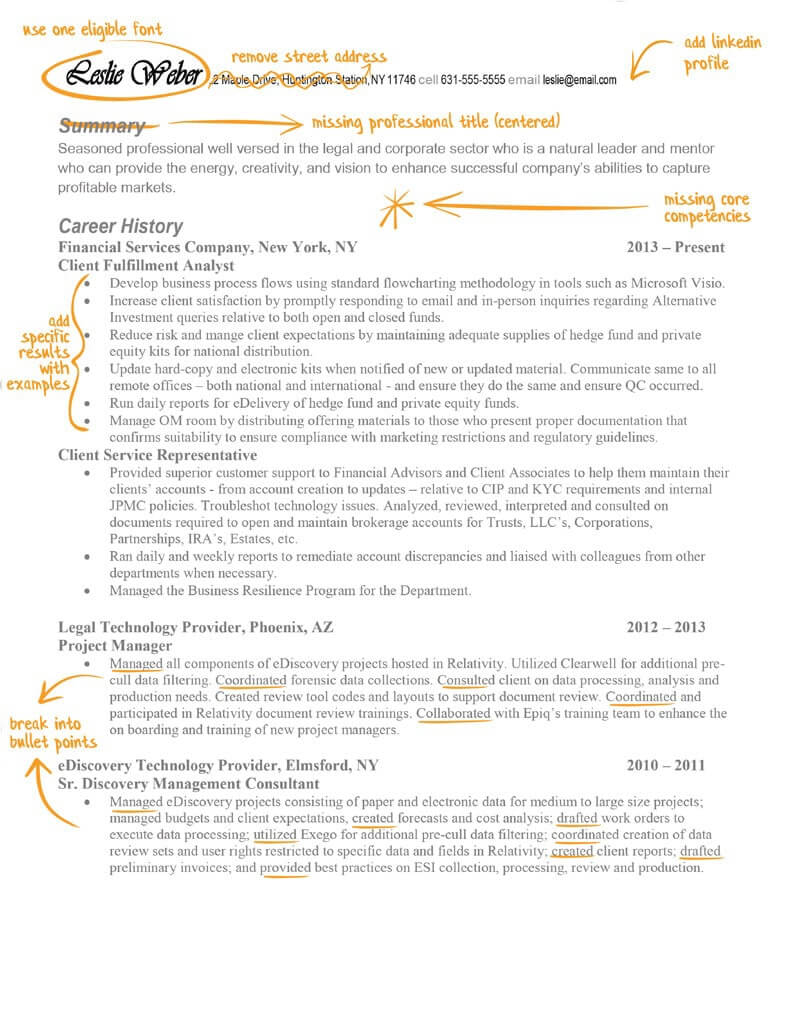 Leslie's resume before TopResume
