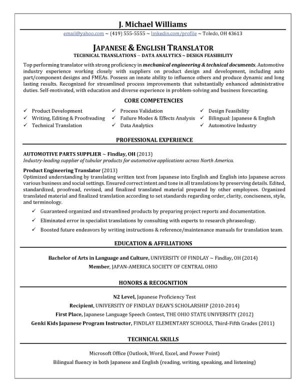 translator resume writing example success story